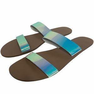NWT J. Crew Metallic Double Strap Sandals